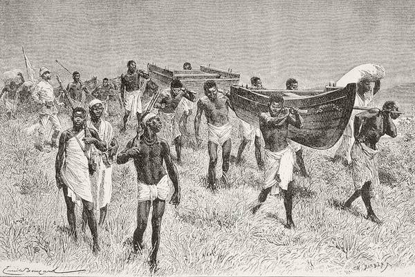 Uganda Drawing - African Porters Carrying Henry Morton by Vintage Design Pics