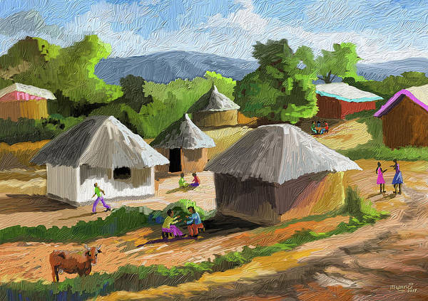 Wall Art - Painting - African Rural Life by Anthony Mwangi