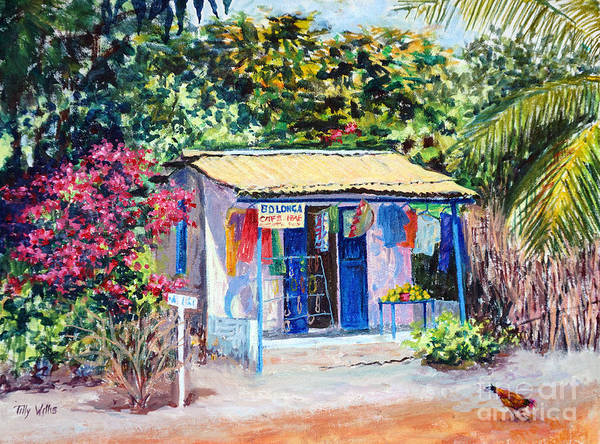 Flower Shop Painting - African Shop by Tilly Willis