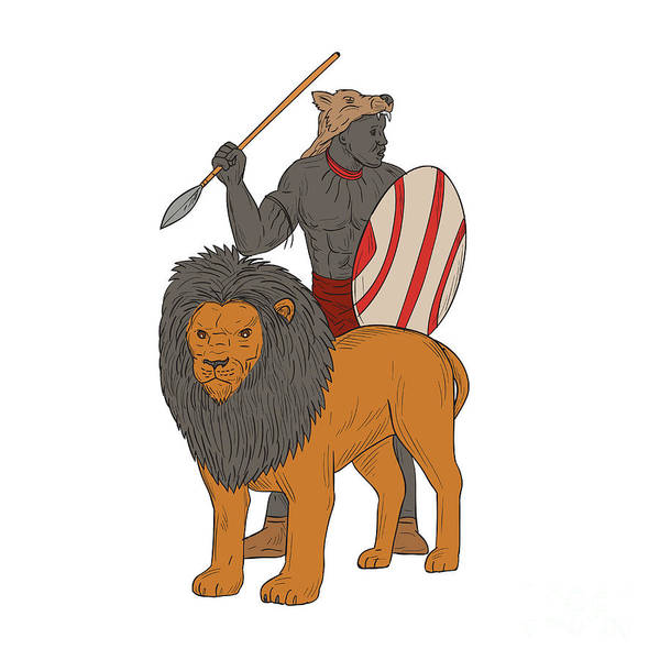 African Tribal Digital Art - African Warrior Spear Hunting With Lion Drawing by Aloysius Patrimonio