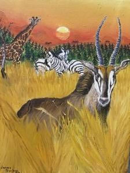 Wall Art - Painting - African Wildlife by Dunbar's Modern Art