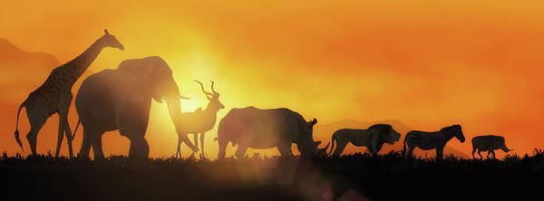 Wall Art - Photograph - African Wildlife Sunset Silhouette Banner by Susan Schmitz