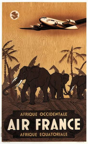 Office Decor Mixed Media - Afrique Occidentale - Air France - Afrique Equatoriale - Retro Travel Poster - Vintage Poster by Studio Grafiikka