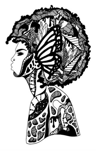Drawing - Afro Beauty by Kenal Louis