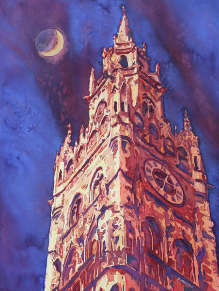 Clock Tower Painting - After Midnight by Jenny Armitage
