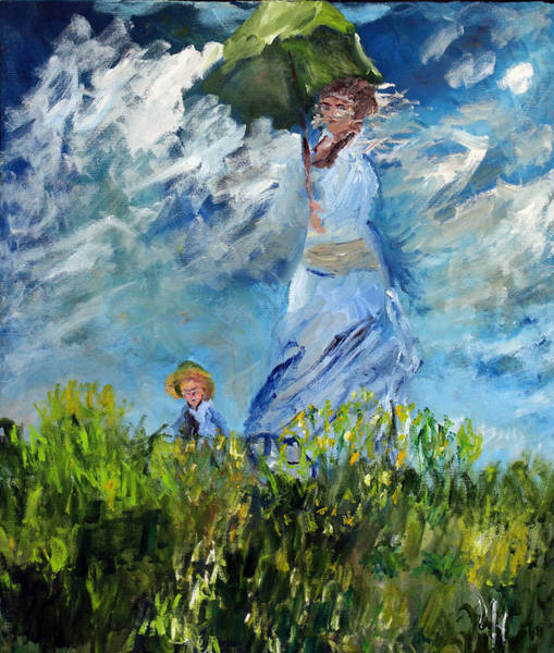 Painting - After Monet Girl With The Green Umbrella by Michael Helfen
