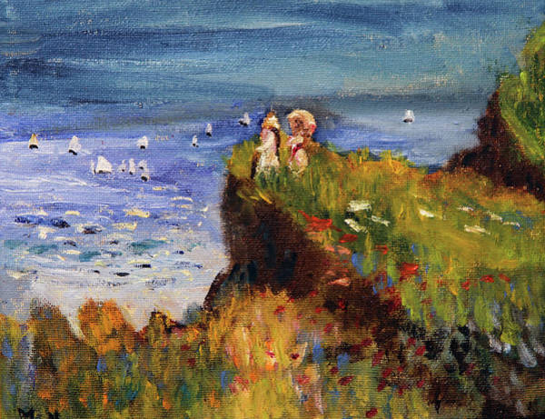Painting - After Monet Somewhere On The Cliffs Of Normandie by Michael Helfen