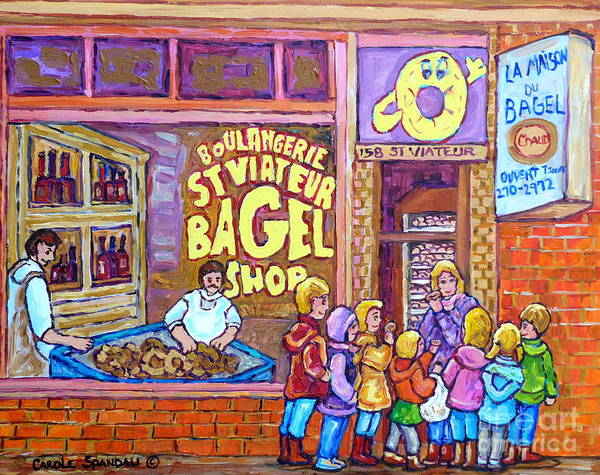 Painting - After School Kids Bagel Shoppers Boulangerie Store Front St Viateur Bagel Chef Montreal Memories     by Carole Spandau
