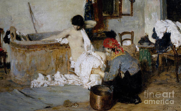 Bath Room Wall Art - Painting - After The Bath by Giacomo Favretto