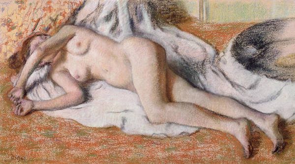 After The Bath Drawing - After The Bath Or Reclining Nude by Edgar Degas