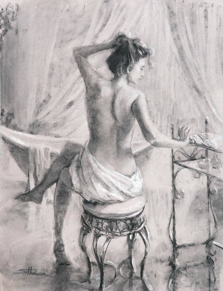 Tub Wall Art - Painting - After The Bath by Steve Henderson
