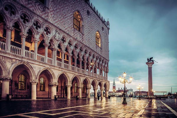 Italia Photograph - After The Rain At St. Mark's by Andrew Soundarajan