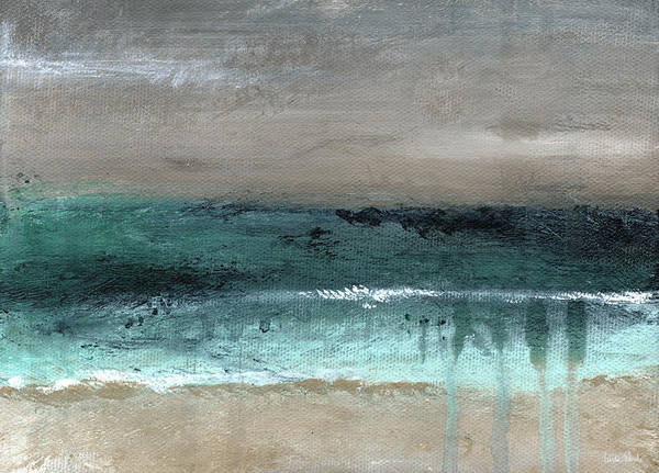 Teal Mixed Media - After The Storm 2- Abstract Beach Landscape By Linda Woods by Linda Woods
