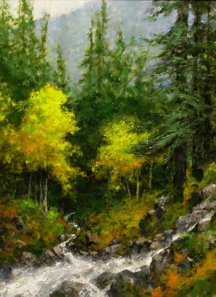 Stream Wall Art - Painting - After The Storm September by Jim Gola
