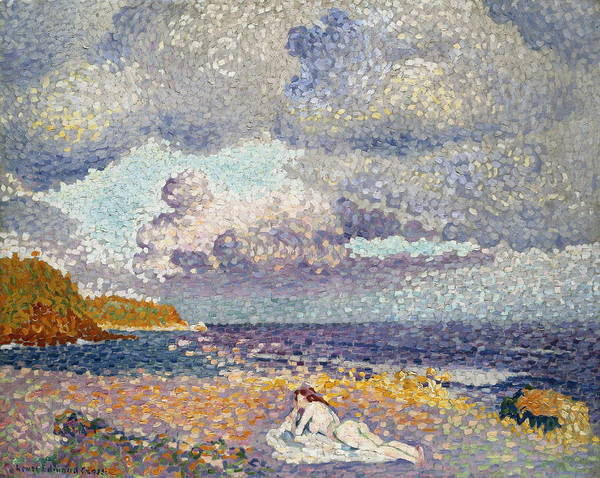 Crossed Legs Painting - After The Storm The Bather by Henri Edmond Cross