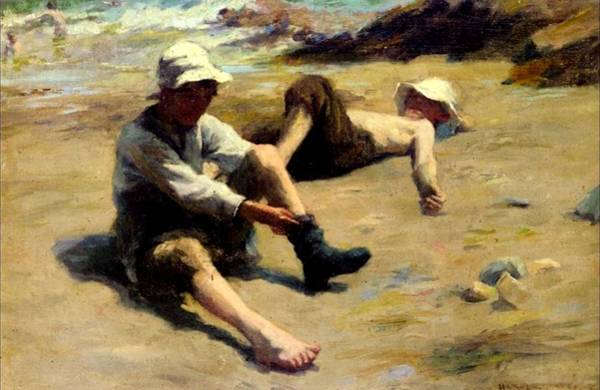 Newlyn Painting - After The Swim by Harold Harvey