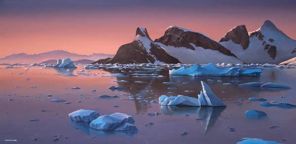 Afterglow Lemarie Channel Antarctica Art Print