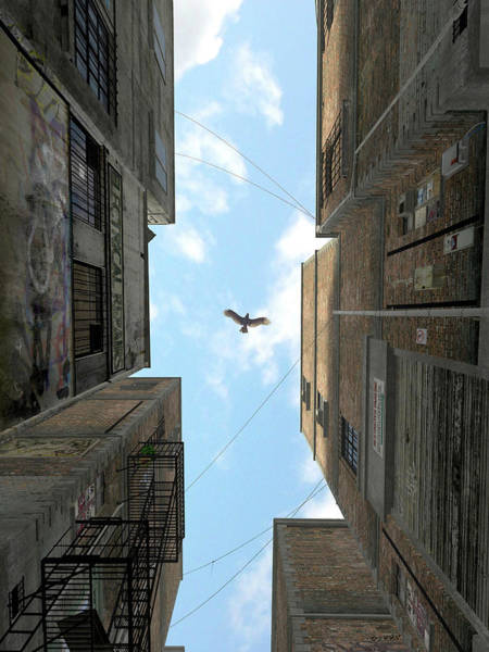 Blue Sky Digital Art - Afternoon Alley by Cynthia Decker
