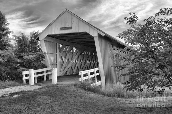 Photograph - Afternoon At The Imes Covered Bridge Black And White by Adam Jewell