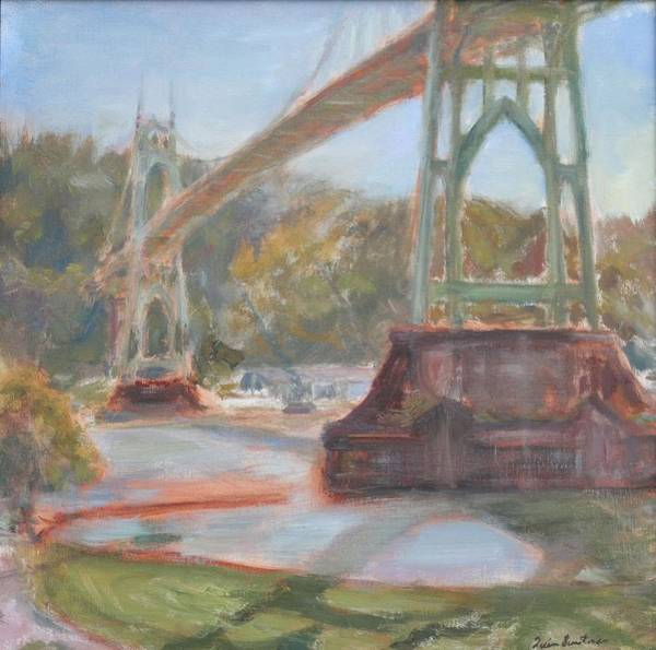 Painting - Afternoon In Cathedral Park, Original Contemporary Impressionist Oil Painting by Quin Sweetman