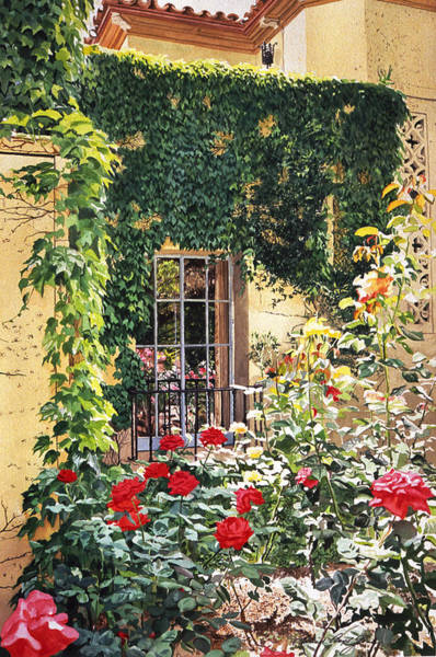 Italian Architecture Painting - Afternoon In The Rose Garden by David Lloyd Glover