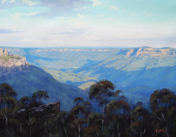 Three Sisters Wall Art - Painting - Afternoon Light Jamison Valley by Graham Gercken