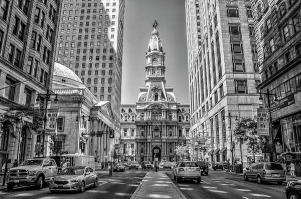 Photograph - Afternoon On Broad Street - Philadelphia In Black And White by Bill Cannon
