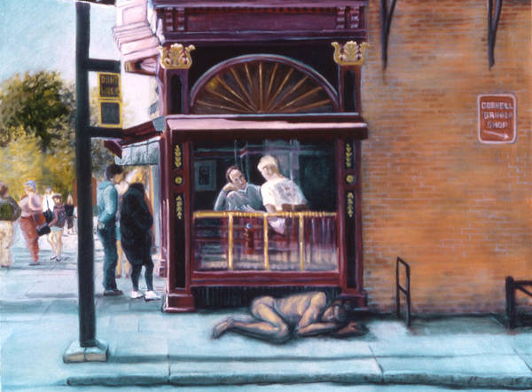 Painting - Afternoon On Ithaca Commons by John Clum