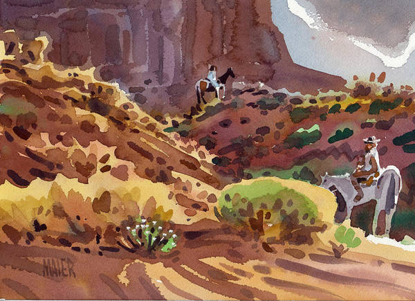 Monument Valley Painting - Afternoon Ride by Donald Maier