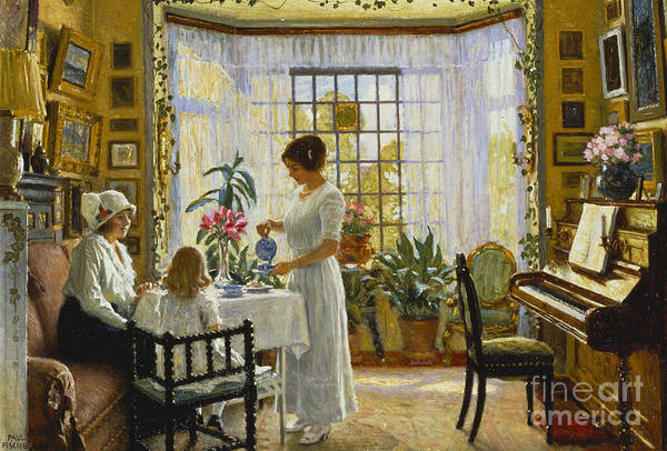 Wall Art - Painting - Afternoon Tea by Paul Fischer