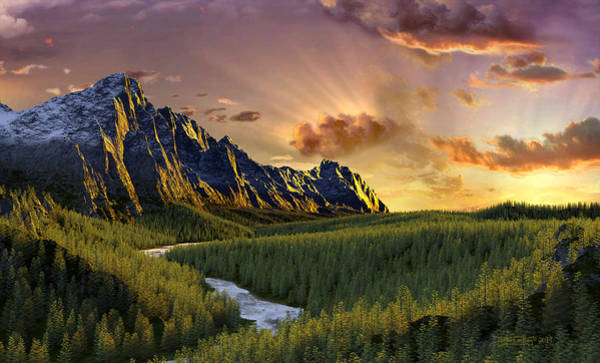 Digital Art - Against The Twilight Sky by Dieter Carlton