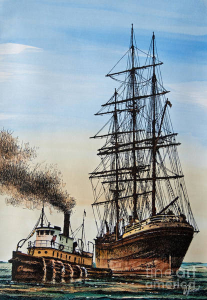 Tug Wall Art - Painting - Age Of Steam And Sail by James Williamson