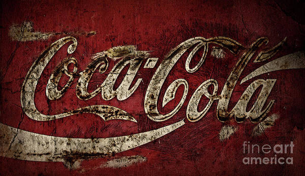 Wall Art - Photograph - Aged Coca Cola Dark by John Stephens