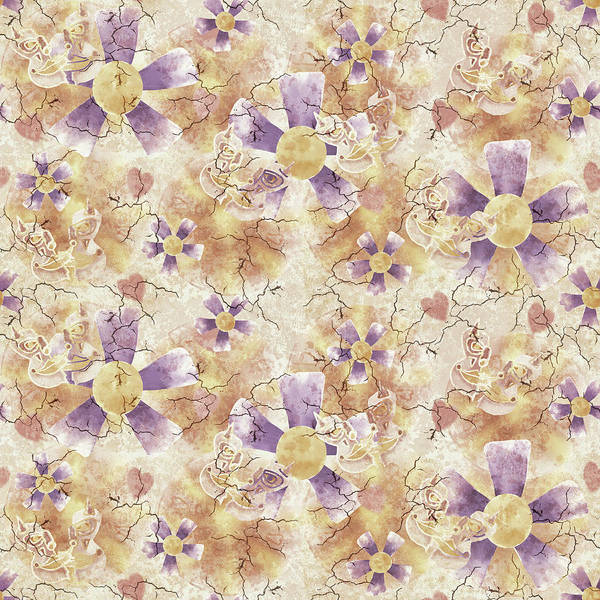 Digital Art - Aged Flower Clown Pattern by April Burton
