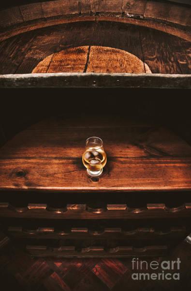 Irish Whiskey Photograph - Aged Glass Of Rum On Cellar Barrel by Jorgo Photography - Wall Art Gallery