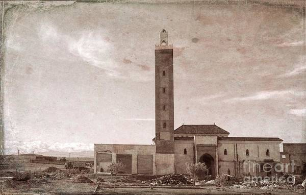 Mosque Digital Art - Aged Photo Digital Mosque Morocco  by Chuck Kuhn