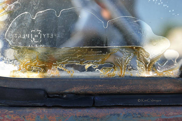 Photograph - Aged Truck Window Abstract by Kae Cheatham