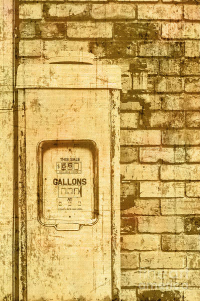 Gasoline Wall Art - Photograph - Aged Yellowed Vintage Photo Of A Gas Pump by Jorgo Photography - Wall Art Gallery