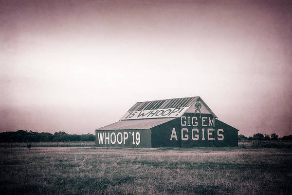 Photograph - Aggie Barn Sunrise 2015 Platinum Textured by Joan Carroll