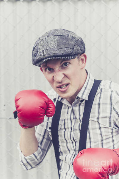 Defensive Photograph - Aggressive Boxer Wearing 1920s Flat Cap by Jorgo Photography - Wall Art Gallery
