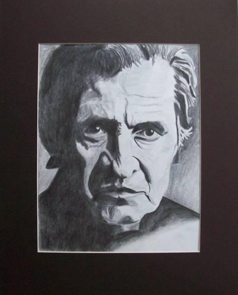 Wall Art - Drawing - Aging Johnny Cash by Mikayla Ziegler
