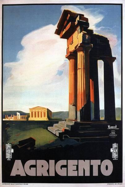 Greek Mixed Media - Agrigento, Sicily, Italy - Retro Travel Poster - Vintage Poster by Studio Grafiikka