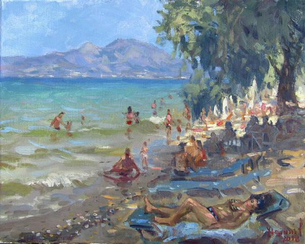 Greek Islands Wall Art - Painting - Agrilesa Beach Athens  by Ylli Haruni