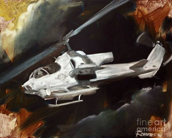 Helicopter Painting - Ah-1w Cobra by Stephen Roberson