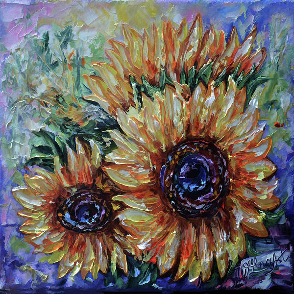 Painting - Ah, Sunflower Palette Knife Oil  Painting  by OLena Art - Lena Owens