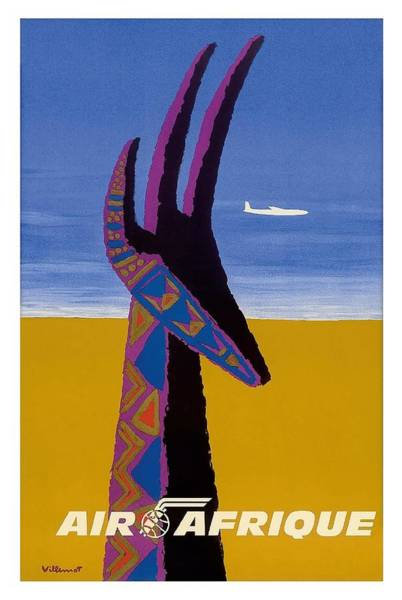 African Tribal Digital Art - Air Afrique Gazelle Vintage Airline Travel Poster By Bernard Villemot by Retro Graphics