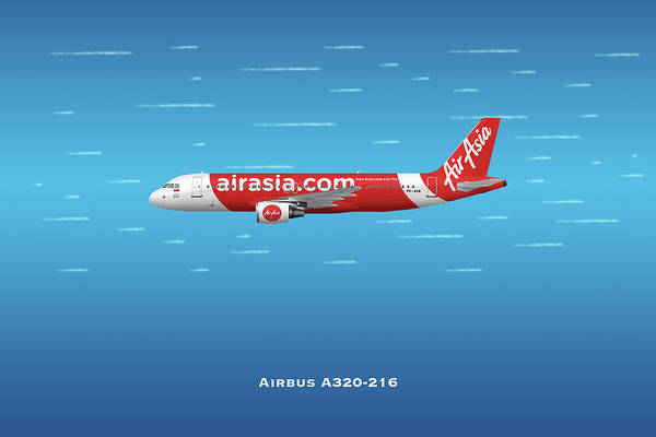 Wall Art - Digital Art - Air Asia Airbus A320-216 by J Biggadike