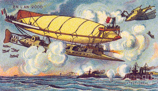 Photograph - Air Battle, 1900s French Postcard by Science Source