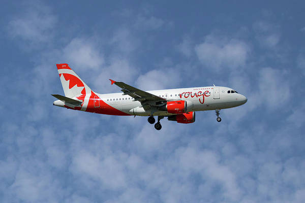 Air Canada Wall Art - Photograph - Air Canada Rouge Airbus A319-114 1 by Smart Aviation