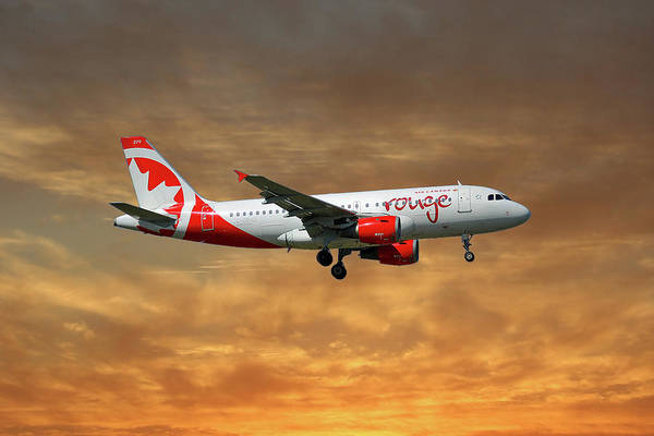 Air Canada Wall Art - Photograph - Air Canada Rouge Airbus A319-114 2 by Smart Aviation